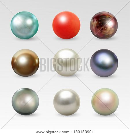 Pearl realistic set isolated on white background. Spherical beautiful 3D orb with transparent glares and highlights for decoration. Jewelry gemstones. Vector Illustration for your design and business