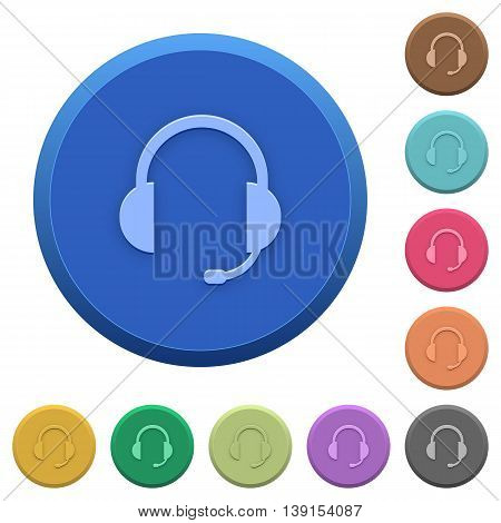 Set of round color embossed headset buttons