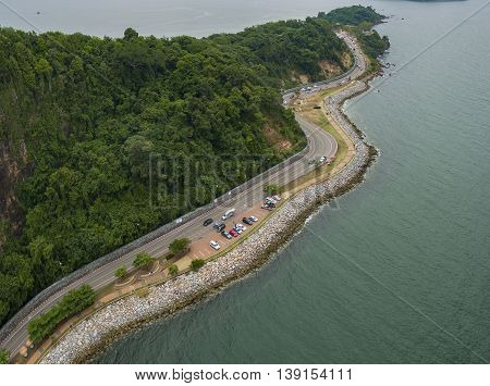 aerial view of chalerm burapa cholatis road chantaburi or scenic route important traveling destination and traffic landmark in eastern of thailland