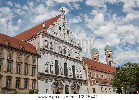 Michaelskirche And Frauenkirche In Munich