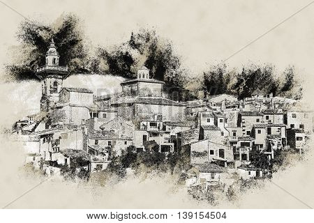 Beautiful view of the small town Valldemossa situated in picturesque mountains on Mallorca island, Spain. Vintage painting, background illustration, beautiful picture, travel texture
