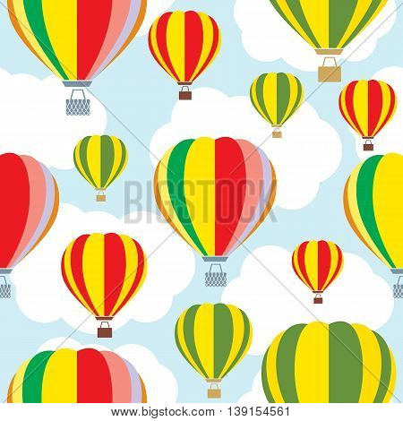 Aerostat balloon over sky. Colorful vector pattern.