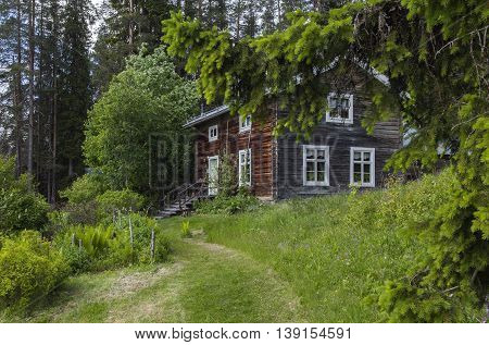 Wooden timber building, homestead in a forest. Trees and garden on the slope. Entry to the building.