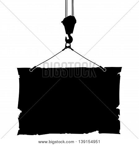 Hook crane lifts the poster. Black and white vector illustration.