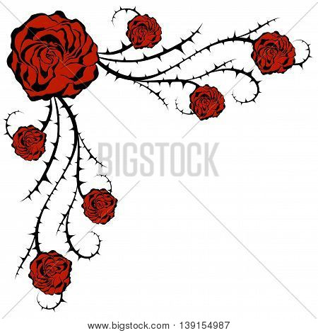 Roses and bush. Corner Floral vector element