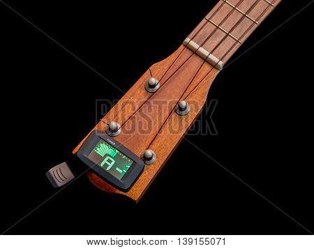 Clip tuner for ukulele A sound, black background