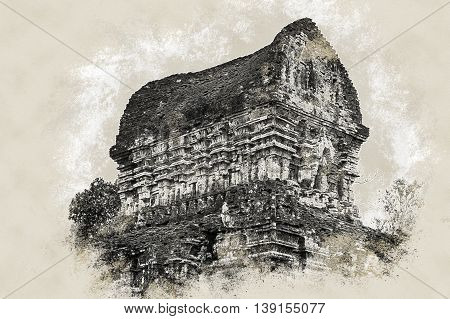 My Son, Ancient Hindu tamples of Cham culture in Vietnam near the cities of Hoi An and Da Nang. Vintage painting, background illustration, beautiful picture, travel texture