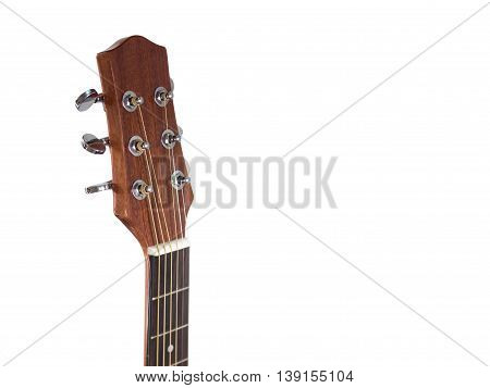 head of acoustic guitar on white background