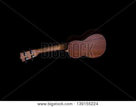 back of hawaii ukulele guitar isolated against black background