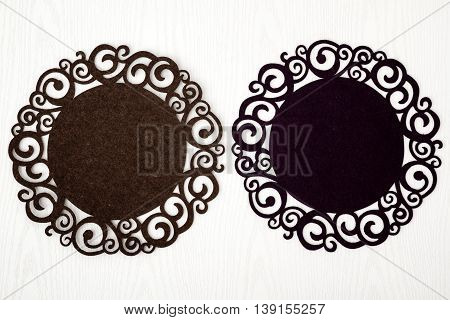Decorative dark runners from felt cloth for dining tables