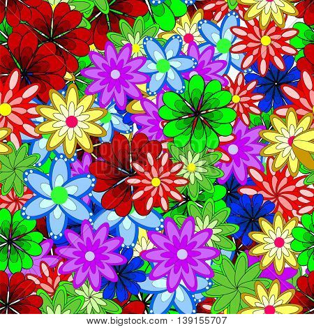 Vector seamless eastern pattern on colorful flowers doodles background