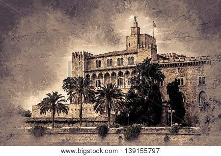Almudaina palace with palm trees against blue sky and clouds, Palma de Mallorca, Balearic islands, Spain. Vintage painting, background illustration, beautiful picture, travel texture