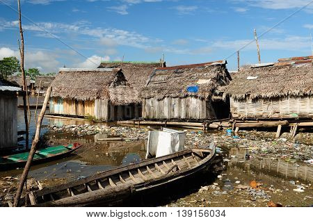 South America Floating wooden houses in the Amazonia Iquitos major city poor Belem district