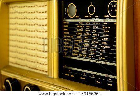 Classic radio receiver's dial scale. Vintage radio.