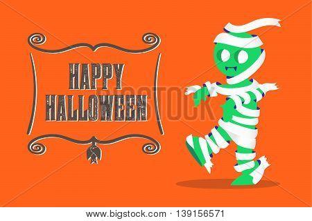 Vector : Mummy Monster Walking And Happy Halloween Banner On Orange Background,vintage Style Cartoon