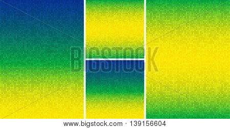 Set of Abstract pixel digital background using Brazil flag colors, A4 size, square format. Vector illustration.