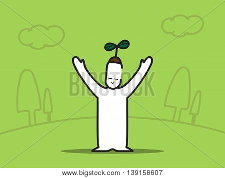 Vector : Man Hand Up With Plant On Head With Tree On Green Background,eco Concept
