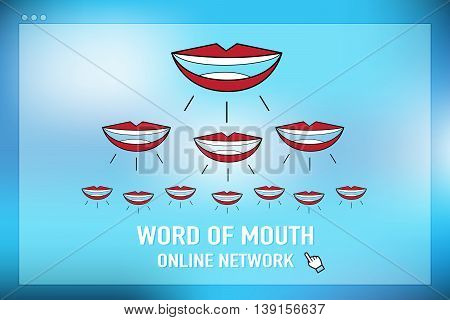 Vector : Word Of Mouth Online Network On Browser Screen At Blue Background