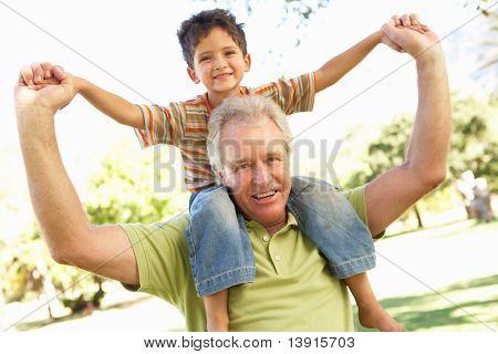 Abuelo dando paseo de Nieto en parte posterior en el Parque