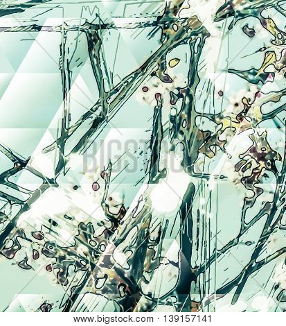 Abstract flower painting. Grungy background texture for text, logo or website. Beautiful spring flowers painted with brushstrokes and digitally modified.