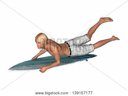 3D Rendering Male Surfer On White
