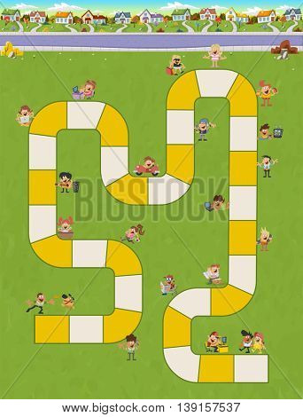 Board game with a block path in the city with happy cartoon people