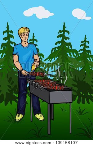 the young man prepares Shish kebab in the forest. Vector illustration