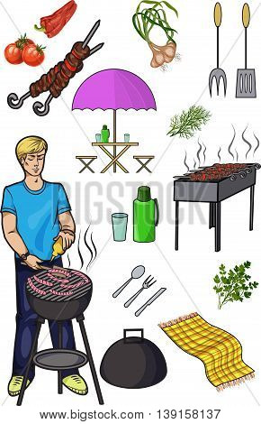 A set of isolated objects for outdoor recreation Grill and barbecue Shish kebab skewers thermos and flasks vegetables and herbsMan preparing sausages vector illustration