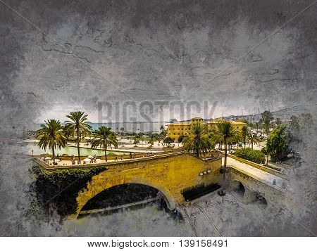 View on the beach of Plama de Mallorca with palm trees, medieval architecture and yachts, Balearic islands, Spain. Modern painting, background illustration.