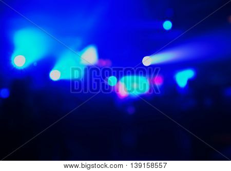 blur blue light in dancing bar or pub at night background