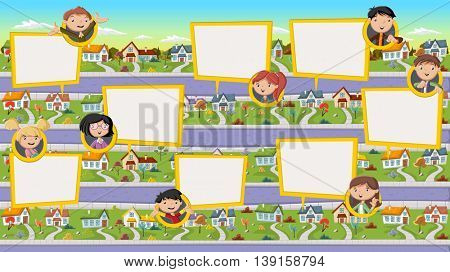Cartoon family talking with speech bubbles in suburb neighborhood. Green park landscape with grass, trees, and houses.