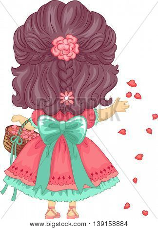 Back View Illustration of a Little Girl Scattering Petals