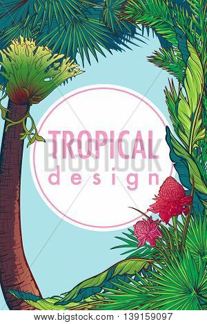 Tropical Floral Frame with blossom and eligera flower. Banana and palm tree leaves. Greeting card, flyer or invitation design template. Portret orientation. EP10 vector illustration.