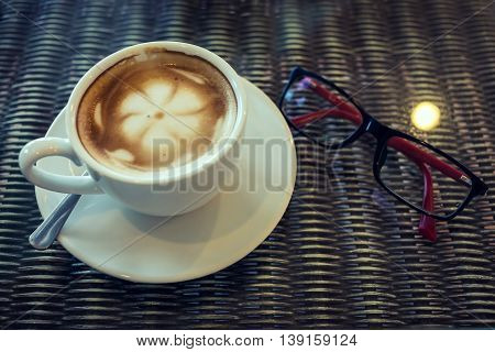 Hot Latte Coffee, White Coffee Cup On Table With Eyeglasses, Latte Art Coffee