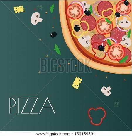 Menu pizza on the chalkboard. Pizza restaurant menu. Pizza sketch menu. Ingredients pizza for cafe menu. Vector illustration