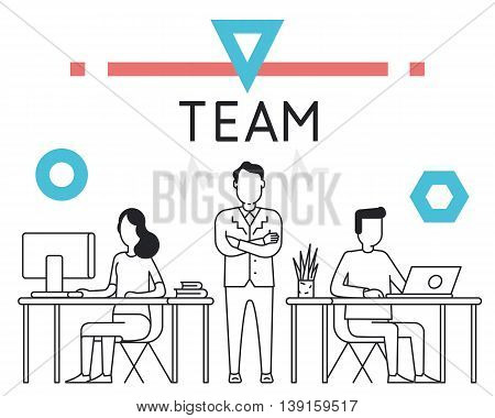 Linear Concept for Business People Teamwork Human Resources Career Opportunities Team Skills HR Management - for website banner and landing page