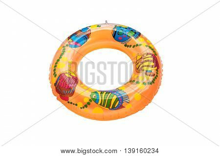 Colorful swim ring for use in water under adult supervision.