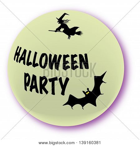 A halloween party icon over a white background