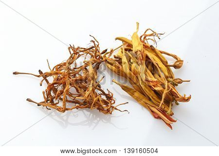 Dried herbal drugs of China on white background