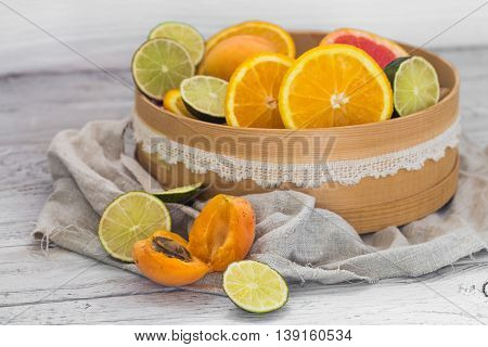 Lots Of Fresh Fruit, Cut On Wooden Background, Drink, Healthy Food