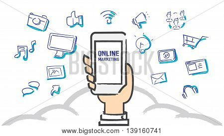 Vector : Hand holding mobile phone with online marketing word with feather icon Digital Marketing concept.