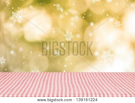 Empty red tablecloth material wooden deck for christmas with blurred abstract background. for product display montage.