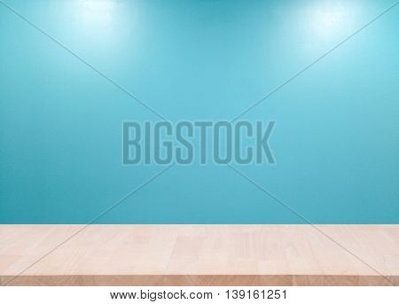 Wood Empty material wooden deck table with blue wall background. for product display montage.