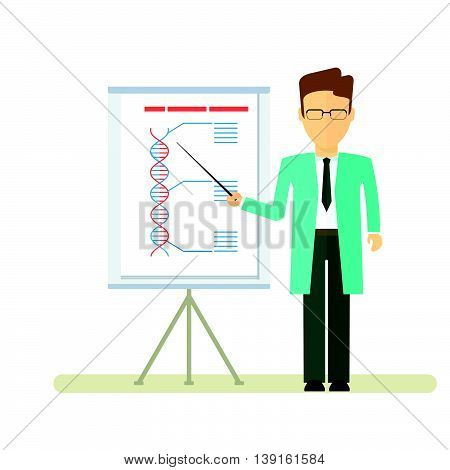 Doctor reports about DNA formula. Presentation on the flipchart paper. Template for medical conferences symposia congresses. Objects isolated on white background. Flat cartoon vector illustration.