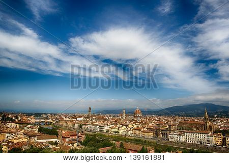 Panoramic view of Florence city in Italy. Florence, capital of Italy, Tuscany region and birthplace of the Renaissance style. Florence. Italy
