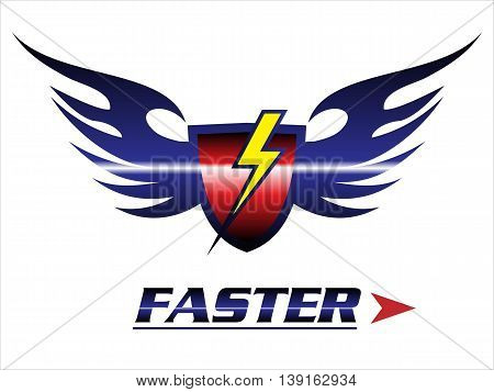 faster. shield & wings with the light icon. red shield with the black flame. winged red shield and light
