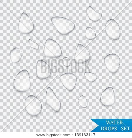 Pure clear water drops realistic set isolated vector illustration