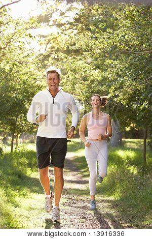 Pareja de Jogging en el Parque de media edad