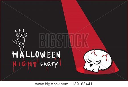 Vector, Halloween Night Party Invitation Card With Skull On Black Background,holiday Concept