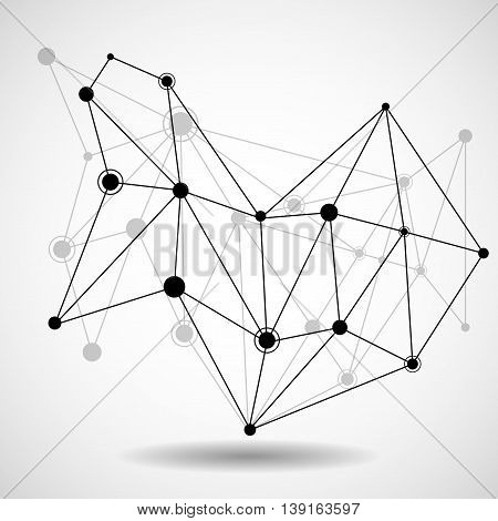 Wireframe mesh with dot and line, network connection, abstract form